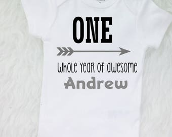 1st Birthday Outfit Boy First Birthday  One Whole Year Of Awesome shirt - ANY NAME