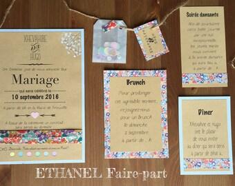 Liberty multicolor - set of 10 wedding invitations