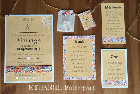 Liberty multicolor set of 10 wedding invitations
