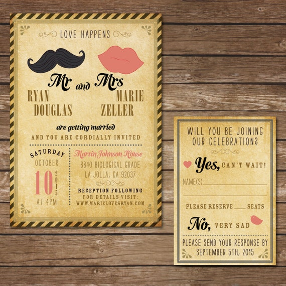 Printable hipster wedding invitation with rsvp card digital like this item stopboris Choice Image