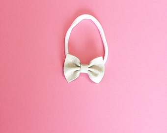 Mini Leather Bow - Baby Bow - Leather Bow - Golden Halo