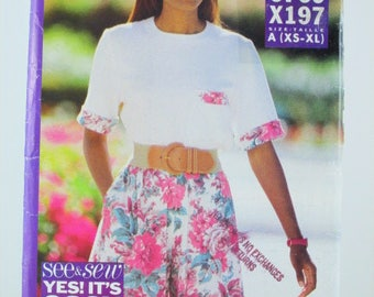 See & Sew/ Butterick 6769/X197, Misses'/Womens' Top and Shorts, Sizes XS-S-M-L-XL, Sewing Pattern, Vintage, Uncut