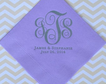 Personalized Monogrammed Wedding Napkins, Custom Napkins, Gold Foil Napkins, Rehearsal Dinner Napkins, Wedding Napkins, Beverage Napkins