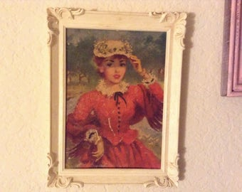 Vintage Lady Picture in Frame