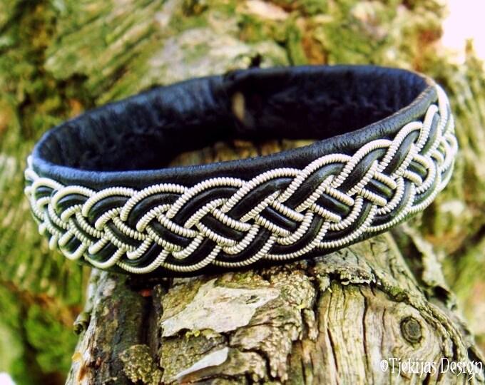FREKI Black Wolf Viking Bracelet Cuff   Unisex Handmade Leather and Pewter Sami Bracelet   Norse Folklore Jewelry