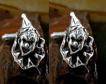 Clown Cufflinks Sterling Silver Free Domestic Shipping