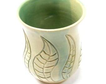 Pottery Vase, Ceramic Vase, Pottery Utensil Holder, Ceramic Utensil Holder, Medium in Light Green