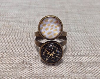 Ring double cabochons 12 mm - timeless - black, gold - gift idea