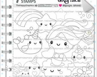 Unicorn Stamp 80OFF Commercial Use Digi Digital Image Narwhal Digistamp Mermaid Clipart Cute
