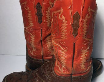 LUCCHESE Red Brown Leather Ostrich Crepe Sole Cowgirl Boots Women's Size 6.5