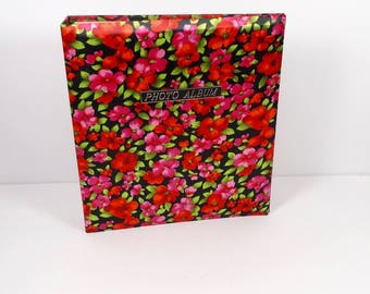 1970s Floral Photo Album, Vintage Midcentury Flower Print Made in Japan Red Pink Binder Album Scrapbooking
