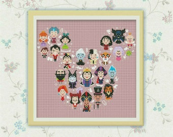 "BOGO FREE! Disney Mickey Villains ""Large"" Cross Stitch Pattern, Disney cross stitch pattern Chart, Needlework PDF Instant Download, S092"