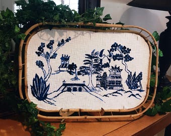 Hand Painted Scenes on Bamboo Wicker Rattan Tray (Reserve yours today)