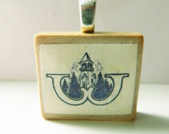 University of Washington logo  - vintage UW sheet music Scrabble tile pendant