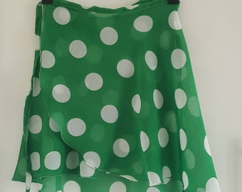 Green large dot chiffon ballet skirt