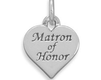 Wedding Charms, Matron of Honor Charms, Sterling Silver Heart Charm, Keepsake Charms, Jewelry Charms, Wedding Bouquet Charms