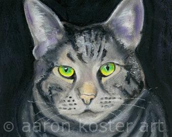 cat print, cat on black, green-eyed cat, cat lover, cat motif