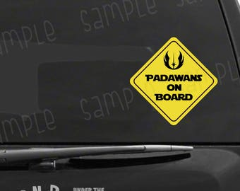 Padawans on Board Vinyl Decal, Star Wars Inspired Baby on Board Sticker, Nerdy Car Decal, Geeky Gift, Star Wars Gift, Jedi Car Decal