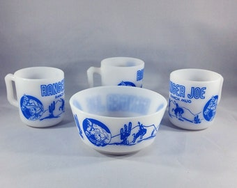 Vintage Hazel Atlas Milk Glass Mugs and Bowl/Cowboys/Horses/Wild West/Retro/Collectibles/Children's Dishes/Gift for Him