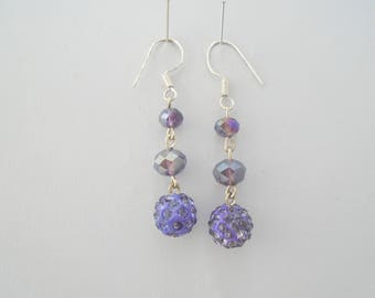 Long Purple earrings, Purple crystal earrings, long dangle earrings, Purple drop earrings, Purple dangly earrings, Long Silver Earrings