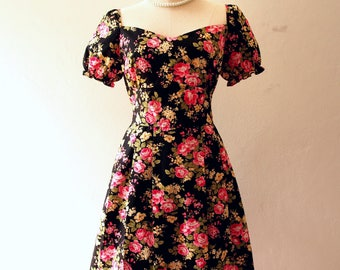 Happily Ever After - Floral Sundress Puff Sleeve Vintage Floral Dress Floral Bridesmaid Dress Tea Party Dress