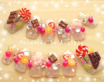 Decoden, 3D nails, kawaii nails, food nail, fake sweet, pop kei, kyary, Harajuku nail, glitter nail, nail tip, fake nails, Japanese nail art