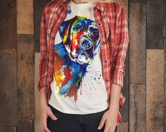 Men's Colorful Black Lab Labrador Retriever art T-Shirt