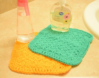 Textured Washcloth Set: Green and Orange (crochet)