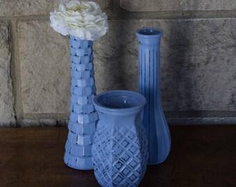 Vintage Painted Vases, Shabby Chic, Lilac Vases, Wedding Vases. Purple Vases