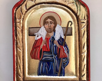 Jesus the Shepard, frame carved icon