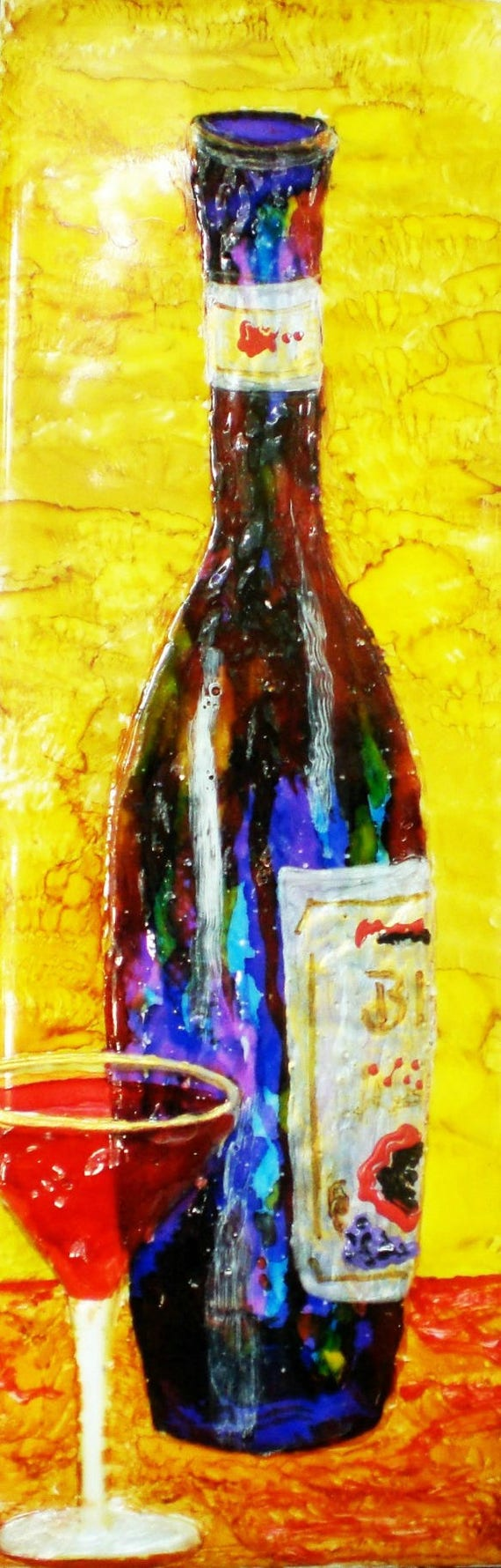 Funky Wine Bottle Wall Art Motif - Wall Art Collections ...