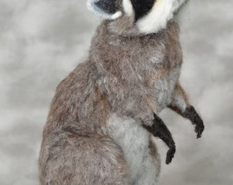 Life Size Baby Startled Raccoon OOAK Needle felted by Bear Artist Stevi T.