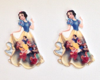 Snow White Planar Resin Set of 2 - Snow White Cabochon - Snow White Hair Bow Center - Snow White Flat Back Resin - Disney Snow White Resin