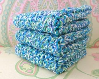 Crochet Wash Cloths/Face Cloths/Bath Cloths/Kitchen Cloths/Dish Cloths in Blue, Green and White, Set of 3 - 100% Cotton - Ready to Ship