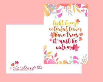autumn quote card - weheartconfetti