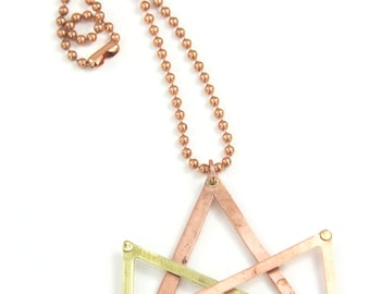 "Necklace, Copper and Brass Tri-Triangle Handcrafted Riveted Copper Ball Chain 26"" Necklace Artisan Designed & Crafted 