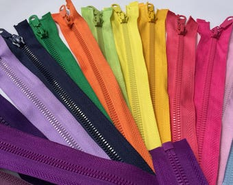 """Separating resin purse zippers 12"""", 22"""", 27"""", variety of colors"""