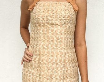 1960s Pearl Accent Peach Embroidered Lace Wiggle Dress