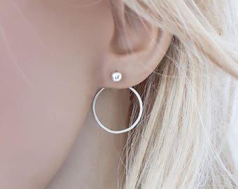 Sterling silver circle earrings, silver ear jackets, hoop ear jackets, open circle earrings