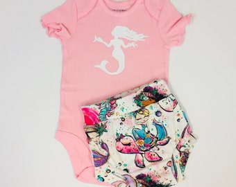 12 month Onesie and Shorties Mermaid Set Ready to Ship