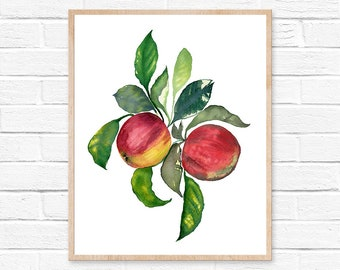 apple watercolor apple watercolor kitchen decor apple painting watercolor print watercolor painting home decor apple art print apple print