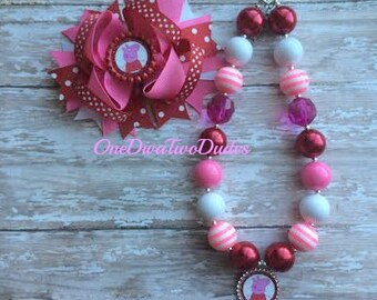 Peppa Pig chunky necklace hair bow set