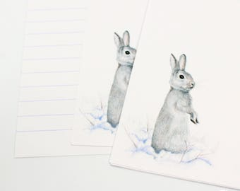Rabbit Writing Paper - Letter Writing Set - Sheets and Envelopes -   Designed By CottageRts Lovely Gift Birthday Present