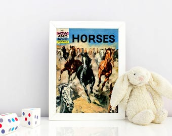 Horses Children's Science Book Cover Print - 1974