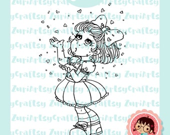 Digital Stamp, Grace, Cute Girl, Clebration, Scrapbooking Digital Stamp, Instant Download, Zuri Artsy Craftsy