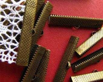 12pcs. 35mm or 1 3/8 inch Bronze Ribbon Clamp End Crimps