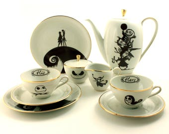 Wedding Gift Set for 2, Nightmare Before Christmas, His Hers, Sally Jack, Vintage Porcelain China, Oogie's Boys, Zero Silhouette, Tim Burton
