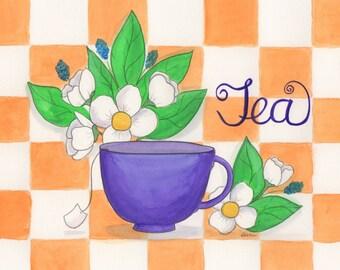 Tea Cup Print 10x8