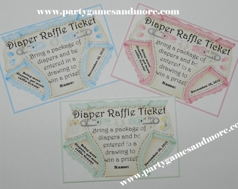 Printable Diaper Raffle Tickets 2, Invitation Diaper Inserts digital file