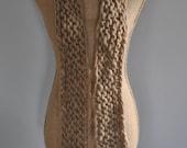 Bulky, Wrapping, Scarf, Handspun Yarn, Handknit Knit Scarf, Wool, Soft, Beige, Natural Yospun